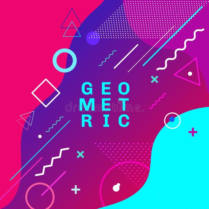 Η αφηρημένη ζωηρόχρωμη γεωμετρική κάρτα ύφους της Μέμφιδας μόδας μορφών και μορφών καθιερώνουσα τη μόδα σχεδιάζει το υπόβαθρο Μπο απεικόνιση αποθεμάτων