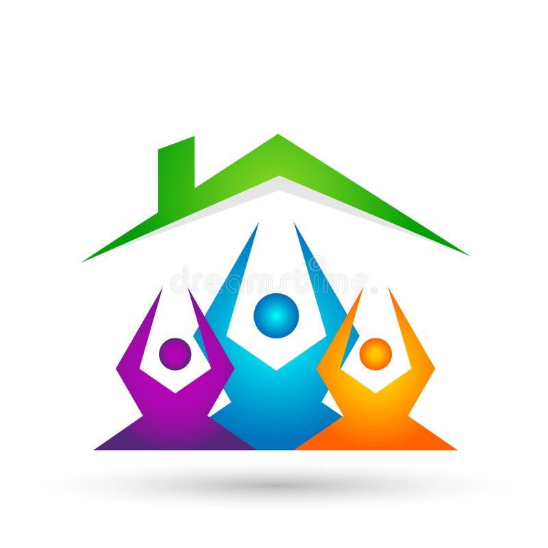 Η αφηρημένη στέγη οικογενειακών σπιτιών ανθρώπων ακίνητων περιουσιών και το διανυσματικό εικονίδιο στοιχείων εγχώριων λογότυπων σ διανυσματική απεικόνιση