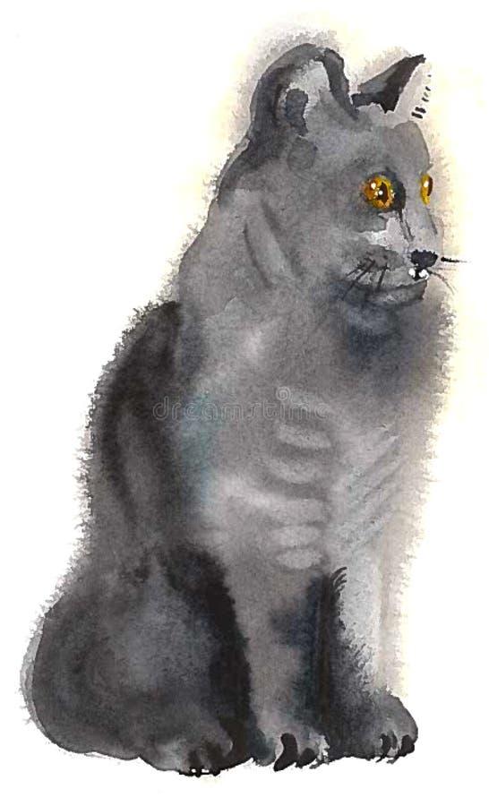 Η γκρίζα γάτα κάθεται και κοιτάζει έξω για το θήραμα απεικόνιση αποθεμάτων
