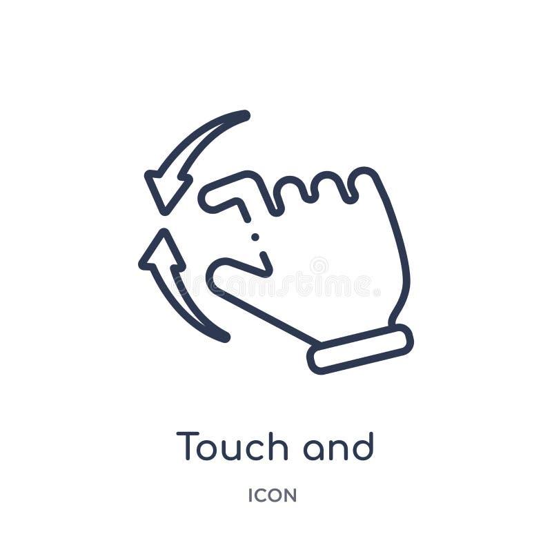 Η γραμμική αφή και το προς τα κάτω γλιστρώντας εικονίδιο χειρονομίας από τα χέρια και τα guestures περιγράφουν τη συλλογή Λεπτή α απεικόνιση αποθεμάτων