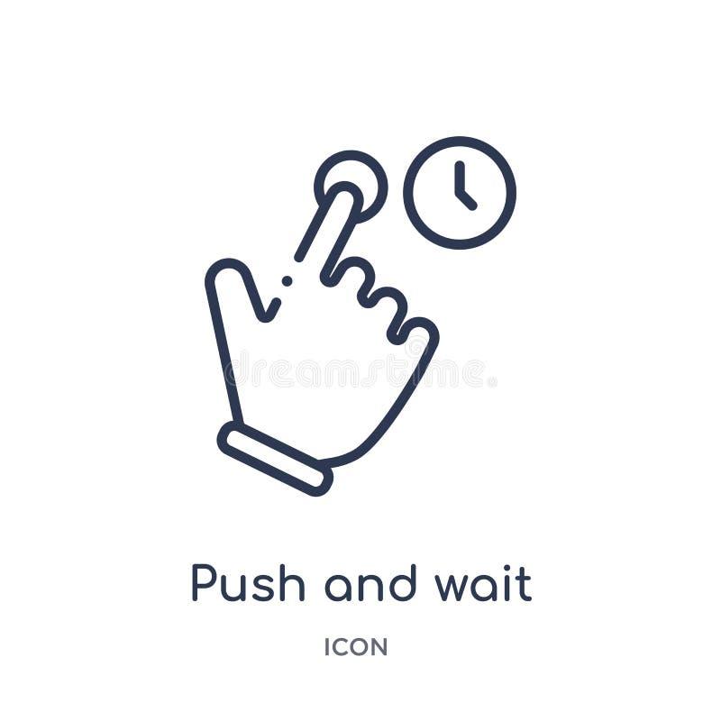 Η γραμμική ώθηση και περιμένει το εικονίδιο χειρονομίας από τα χέρια και τα guestures περιγράφουν τη συλλογή Η λεπτή ώθηση γραμμώ διανυσματική απεικόνιση