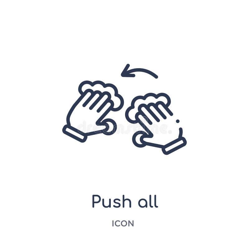 Η γραμμική ώθηση όλα τα δάχτυλα για να στρίψει το αριστερό εικονίδιο από τα χέρια και τα guestures περιγράφει τη συλλογή Η λεπτή  διανυσματική απεικόνιση