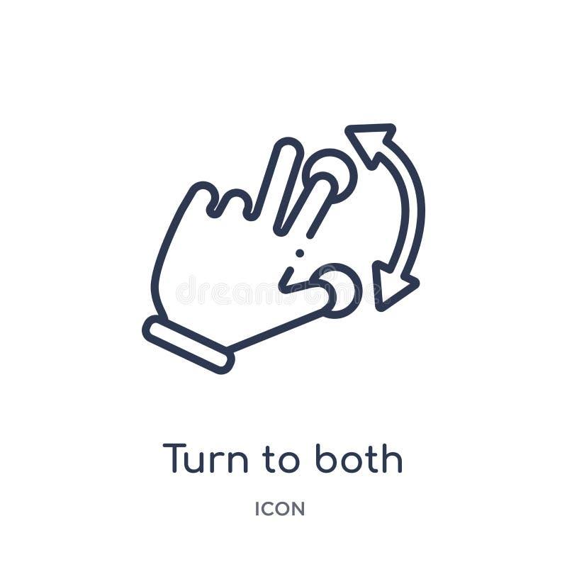 Η γραμμική στροφή και στο εικονίδιο χειρονομίας κατευθύνσεων από τα χέρια και τα guestures περιγράφει τη συλλογή Λεπτή στροφή γρα ελεύθερη απεικόνιση δικαιώματος