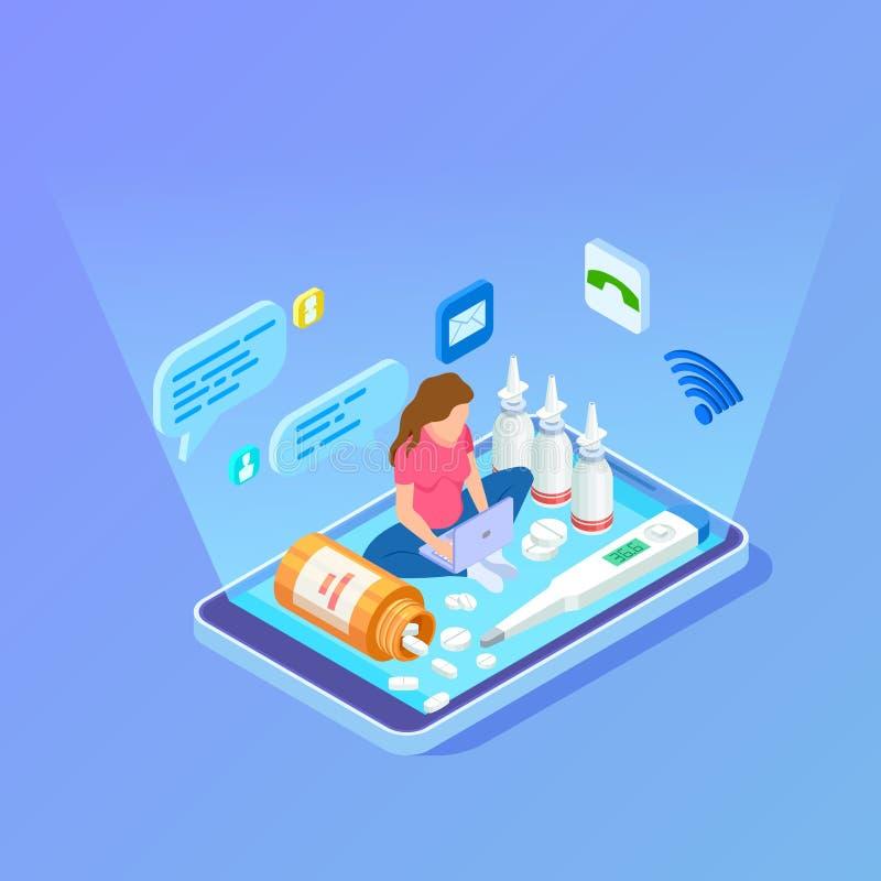 Η γυναίκα αγοράζει τα φάρμακα, φάρμακα με το lap-top Σε απευθείας σύνδεση isometric διανυσματική έννοια φαρμακείων διανυσματική απεικόνιση
