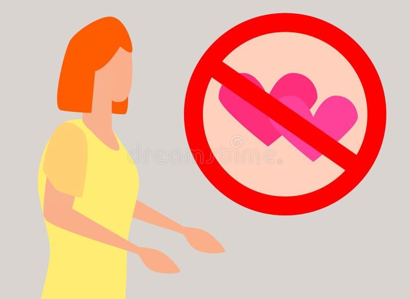 Η γυναίκα σκέφτεται ότι δεν θέλει την αγάπη, άρνηση της αγάπης διανυσματική απεικόνιση