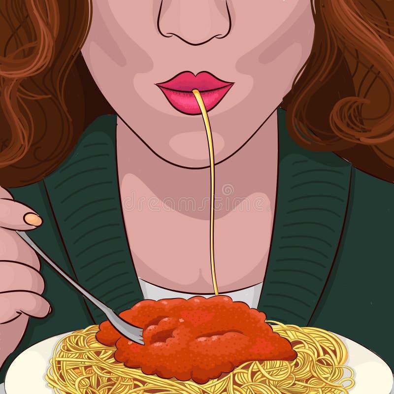 Η γυναίκα τρώει το πορτρέτο σχεδίων χεριών μακαρονιών διανυσματική απεικόνιση