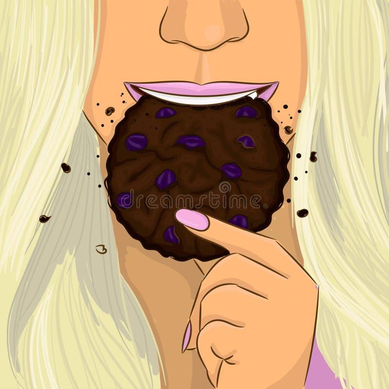 Η γυναίκα τρώει το πορτρέτο σχεδίων χεριών μπισκότων σοκολάτας σταφίδων διανυσματική απεικόνιση