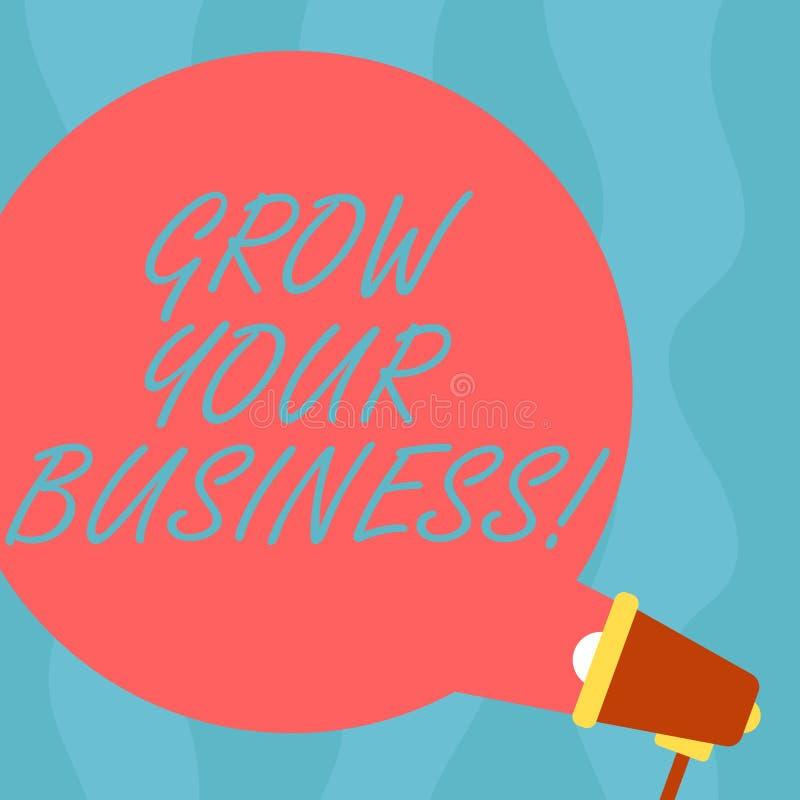 Η εννοιολογική παρουσίαση γραψίματος χεριών αυξάνεται την επιχείρησή σας Η επίδειξη επιχειρησιακών φωτογραφιών βελτιώνει την εργα διανυσματική απεικόνιση