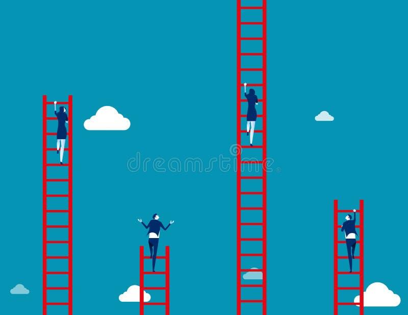 Η επιχειρησιακή ομάδα αναρριχείται στη σκάλα Επιχειρησιακή διανυσματική απεικόνιση έννοιας ελεύθερη απεικόνιση δικαιώματος
