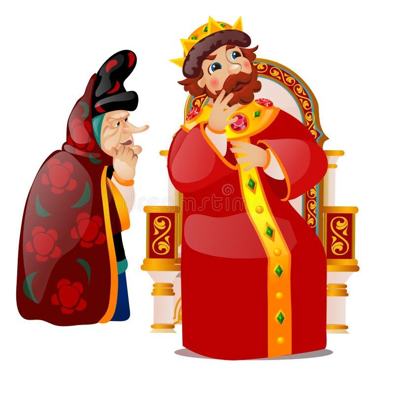 Η ηλικιωμένη γυναίκα πείθει το βασιλιά για να σκεφτεί Χαρακτήρες της ρωσικής λαογραφίας και των λαϊκών ιστοριών που απομονώνονται διανυσματική απεικόνιση