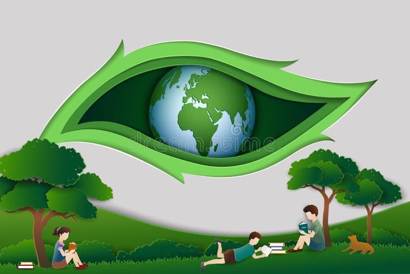 Η ημέρα παγκόσμιων βιβλίων ή η διεθνής εβδομάδα εκπαίδευσης αφαιρεί το υπόβαθρο με τα παιδιά που διαβάζουν τα βιβλία κάτω από το  απεικόνιση αποθεμάτων
