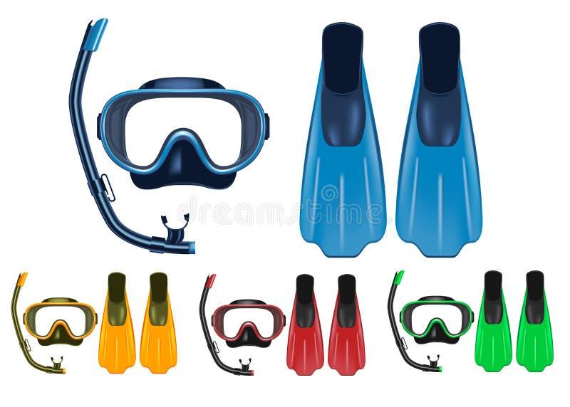 Η μάσκα, κολυμπούν με αναπνευτήρα και το τρισδιάστατο ρεαλιστικό σύνολο πτερυγίων με τα διαφορετικά χρώματα για τις δραστηριότητε διανυσματική απεικόνιση