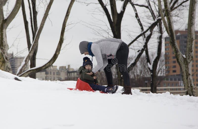 Η μητέρα βοηθά το έλκηθρο γύρου παιδιών της στο χιόνι στο πάρκο της Νέας Υόρκης Bronx στοκ εικόνα