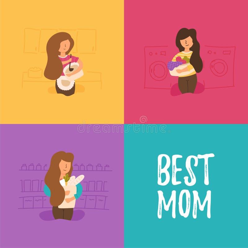 Η μητέρα προετοιμάζει το μεσημεριανό γεύμα και το γεύμα διανυσματική απεικόνιση