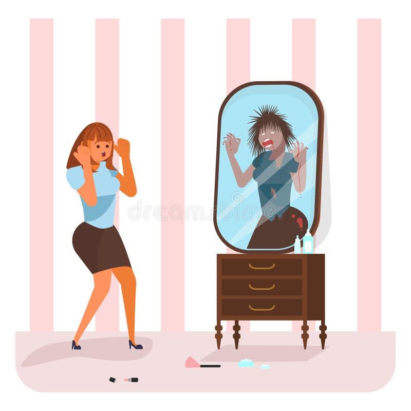 Η νέα γυναίκα είδε ένα τέρας στον καθρέφτη διανυσματική απεικόνιση
