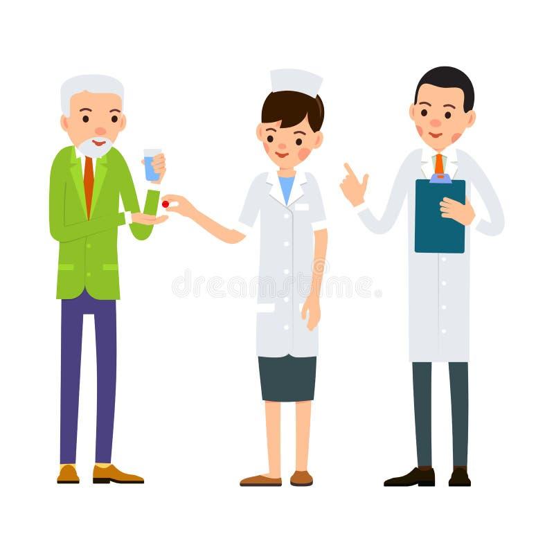 Η νοσοκόμα δίνει το φάρμακο στον ασθενή Το ηλικιωμένο άτομο με το ποτήρι του νερού τεντώνει το χέρι του στα χάπια Ο γιατρός διαβά ελεύθερη απεικόνιση δικαιώματος