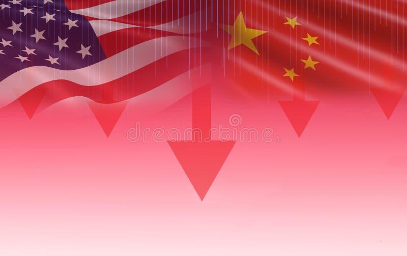 Η οικονομία ΗΠΑ Αμερική εμπορικών πολέμων και το χρηματιστήριο γραφικών παραστάσεων κηροπηγίων σημαιών της Κίνας ανταλλάσσουν την στοκ φωτογραφία