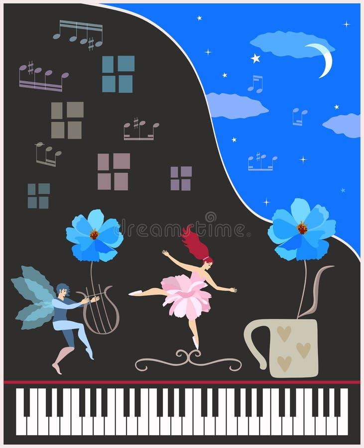 Η δημιουργική διανυσματική απεικόνιση με το μαύρο μεγάλο πιάνο συναυλίας, τη φτερωτά νεράιδα και το ballerina νεράιδων, μπλε κόσμ ελεύθερη απεικόνιση δικαιώματος
