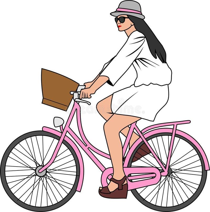 Η διανυσματική απεικόνιση της κυρίας οδηγά ένα εκλεκτής ποιότητας ποδήλατο ελεύθερη απεικόνιση δικαιώματος