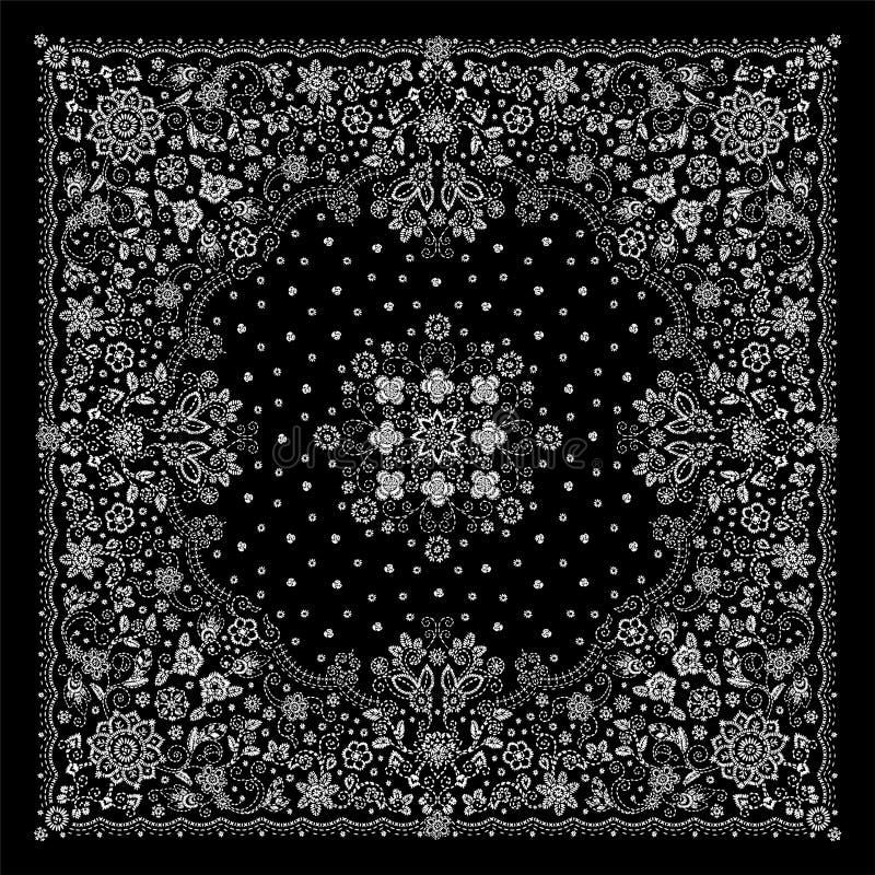 Η διανυσματική διακοσμήσεων τυπωμένη ύλη Bandana κεντητικής floral, το μαντίλι λαιμών μεταξιού ή το τετραγωνικό σχέδιο μαντίλι γι απεικόνιση αποθεμάτων