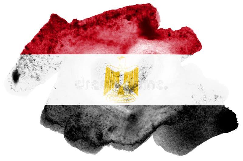 Η σημαία της Αιγύπτου απεικονίζεται στο υγρό ύφος watercolor που απομονώνεται στο άσπρο υπόβαθρο στοκ φωτογραφία με δικαίωμα ελεύθερης χρήσης