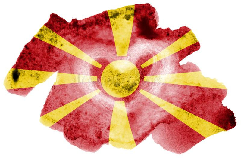Η σημαία της Μακεδονίας απεικονίζεται στο υγρό ύφος watercolor που απομονώνεται στο άσπρο υπόβαθρο στοκ εικόνα με δικαίωμα ελεύθερης χρήσης