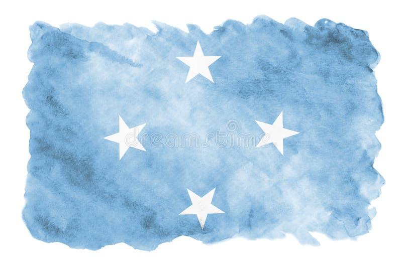 Η σημαία της Μικρονησίας απεικονίζεται στο υγρό ύφος watercolor που απομονώνεται στο άσπρο υπόβαθρο στοκ φωτογραφία
