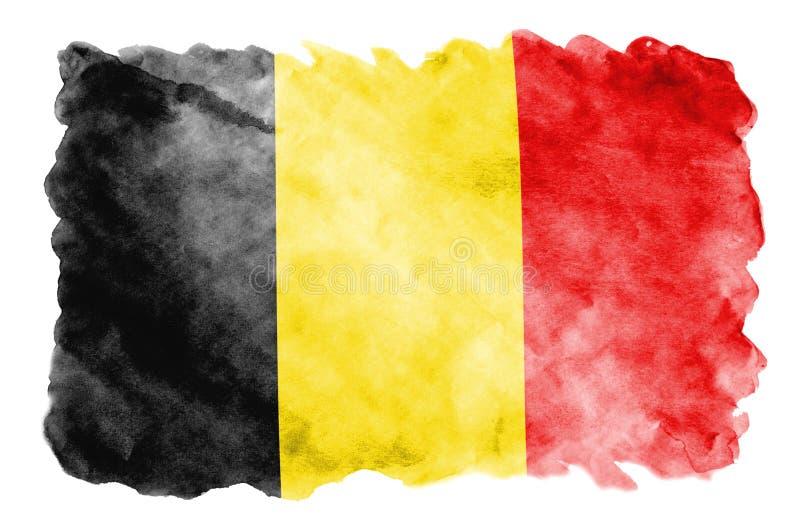 Η σημαία του Βελγίου απεικονίζεται στο υγρό ύφος watercolor που απομονώνεται στο άσπρο υπόβαθρο απεικόνιση αποθεμάτων