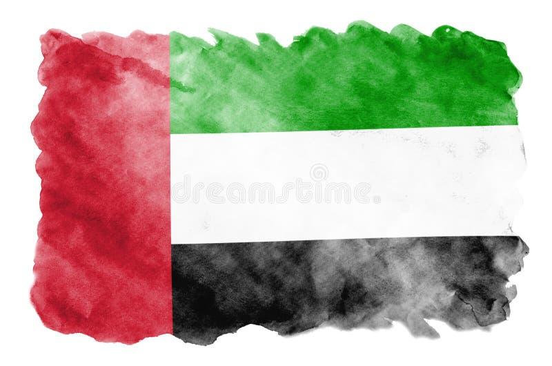 Η σημαία των Ηνωμένων Αραβικών Εμιράτων απεικονίζεται στο υγρό ύφος watercolor που απομονώνεται στο άσπρο υπόβαθρο στοκ φωτογραφίες