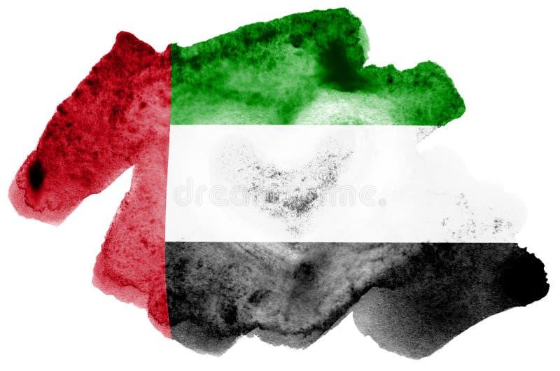 Η σημαία των Ηνωμένων Αραβικών Εμιράτων απεικονίζεται στο υγρό ύφος watercolor που απομονώνεται στο άσπρο υπόβαθρο στοκ εικόνες με δικαίωμα ελεύθερης χρήσης