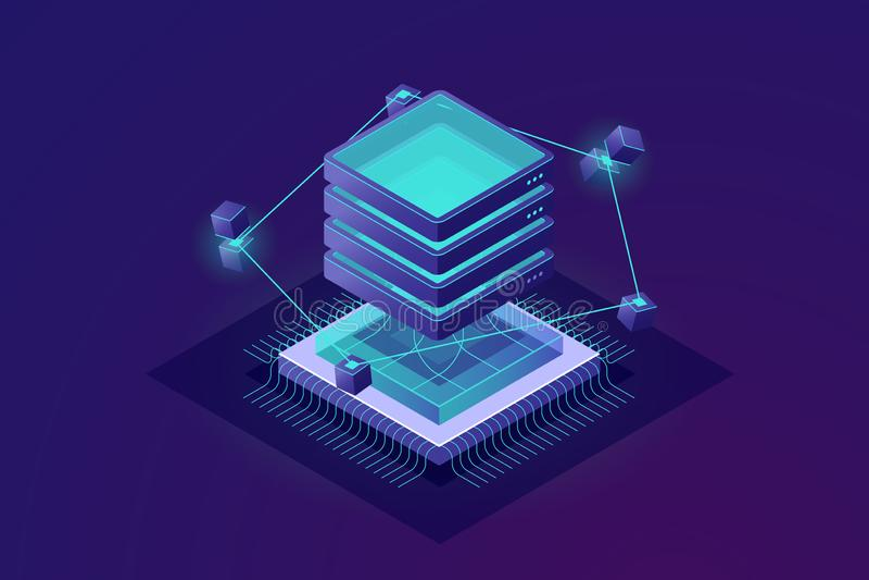 Η τεχνολογία του μελλοντικού isometric εικονιδίου, μεγάλα στοιχεία - αφηρημένη έννοια επεξεργασίας, δωμάτιο κεντρικών υπολογιστών απεικόνιση αποθεμάτων