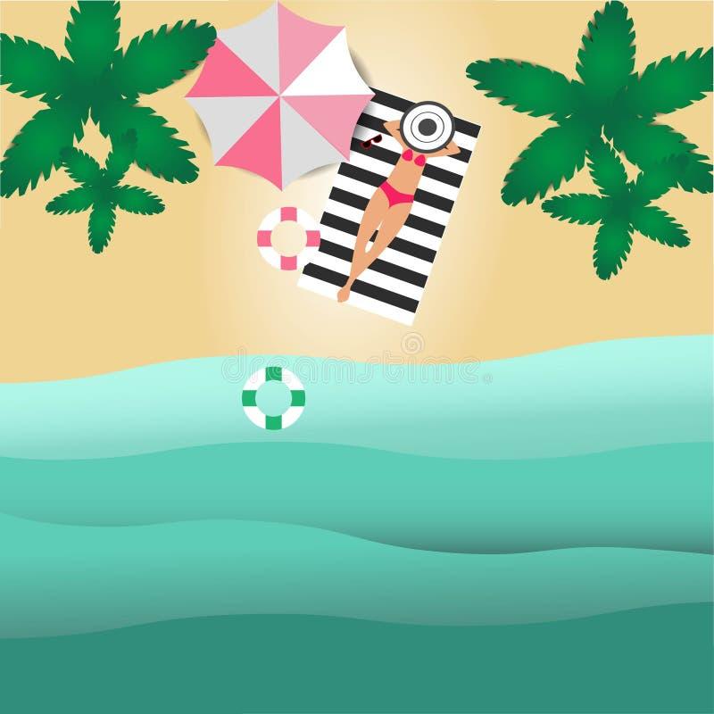 Η τοπ άποψη MobileThe της παραλίας έχει τα δέντρα και τις γυναίκες καρύδων κάνοντας ηλιοθεραπεία στα χαλιά και τα λαστιχένια δαχτ διανυσματική απεικόνιση