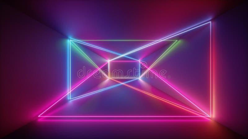 η τρισδιάστατη απόδοση, καμμένος γραμμές, φω'τα νέου, αφαιρεί το psychedelic υπόβαθρο, πορφύρα, οδοντώνει τα μπλε φωτεινά χρώματα διανυσματική απεικόνιση