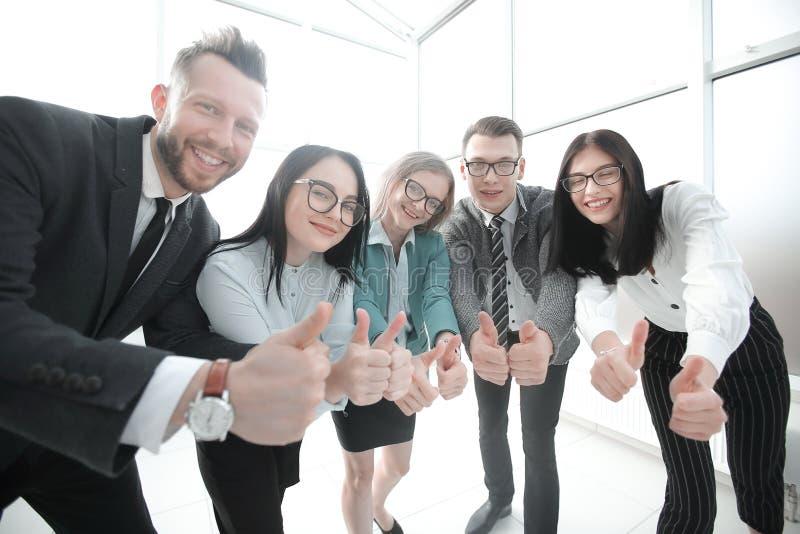 Η χαμογελώντας επιχειρησιακή ομάδα που εξετάζει τη κάμερα και που παρουσιάζει φυλλομετρεί επάνω στοκ φωτογραφία με δικαίωμα ελεύθερης χρήσης
