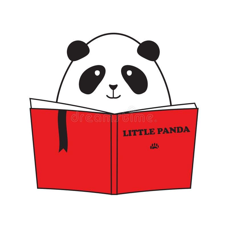 Η χαριτωμένη μικρή Panda που διαβάζει το βιβλίο διανυσματική απεικόνιση