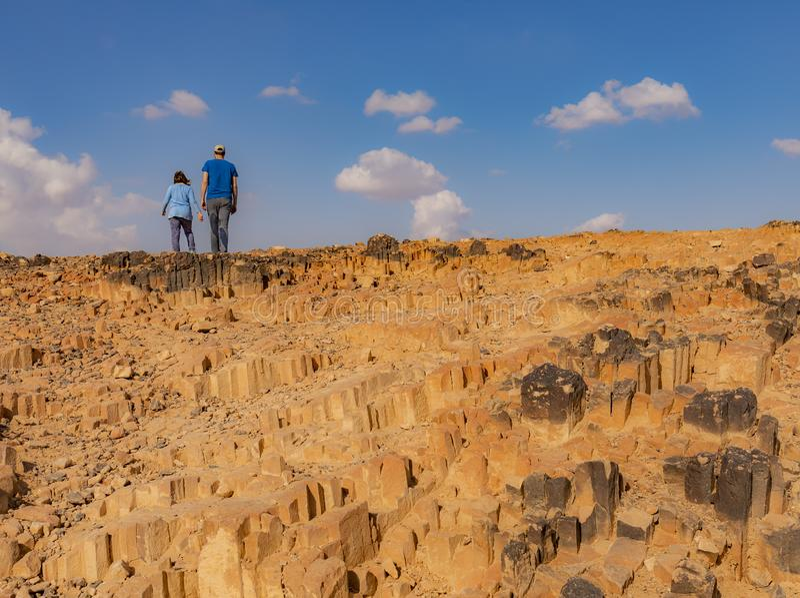 Η περιοχή ξυλουργικής στον κρατήρα του Ramon, Ισραήλ στοκ εικόνες με δικαίωμα ελεύθερης χρήσης