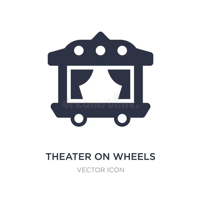 θέατρο στο εικονίδιο ροδών στο άσπρο υπόβαθρο Απλή απεικόνιση στοιχείων από την έννοια μεταφορών διανυσματική απεικόνιση