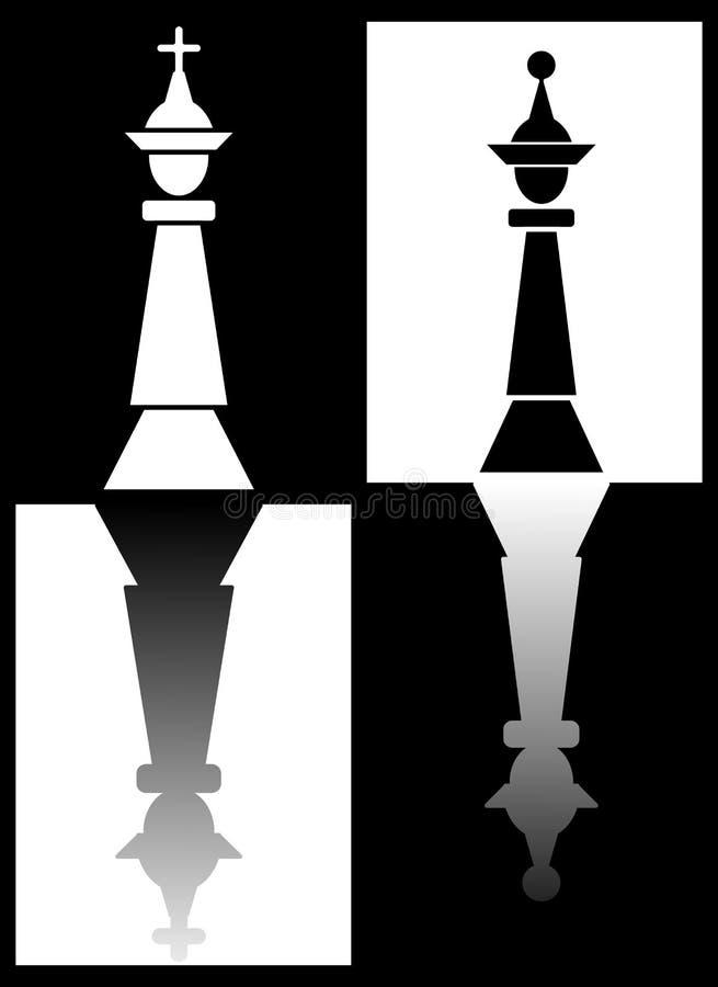 Θέμα σκακιού με τα κομμάτια βασιλιάδων και βασίλισσας που αντανακλούν στους τομείς σκακιού, γραπτό αντίστροφο σχέδιο ελεύθερη απεικόνιση δικαιώματος