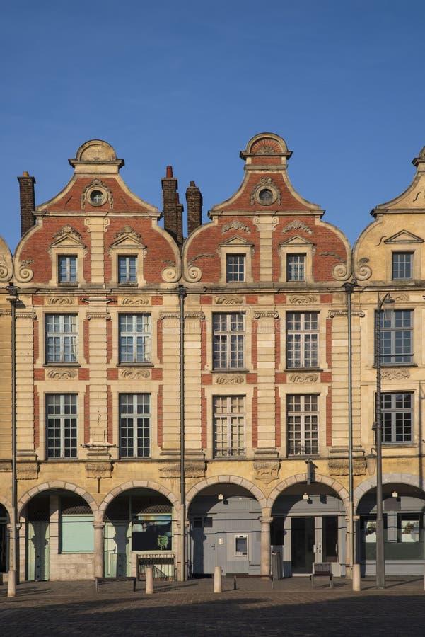Θέση Arras στη Γαλλία με τα χαρακτηριστικά σπίτια στοκ φωτογραφία