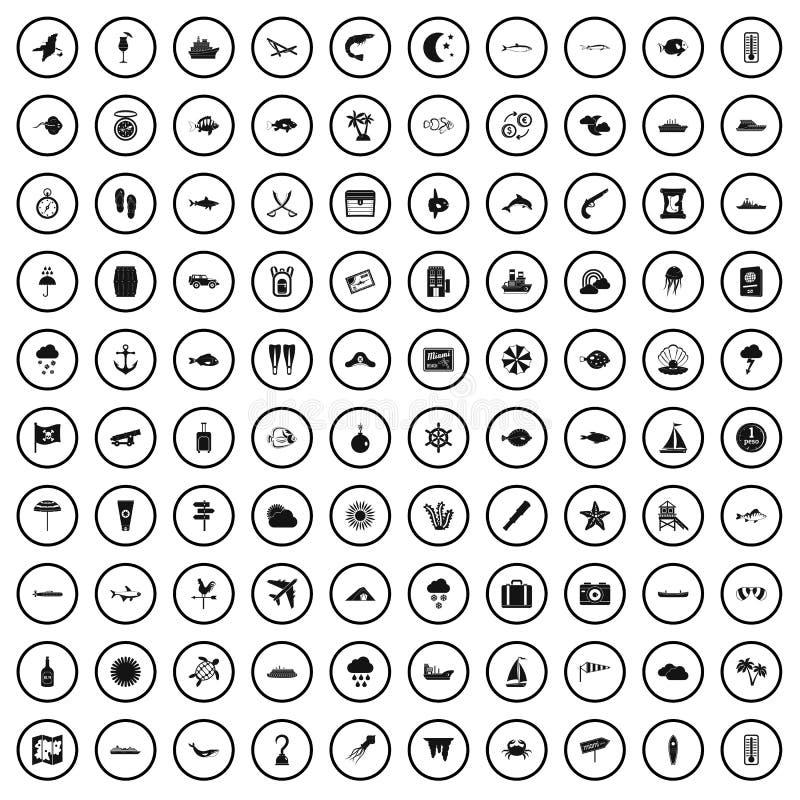 100 θαλάσσια εικονίδια περιβάλλοντος καθορισμένα, απλό ύφος απεικόνιση αποθεμάτων