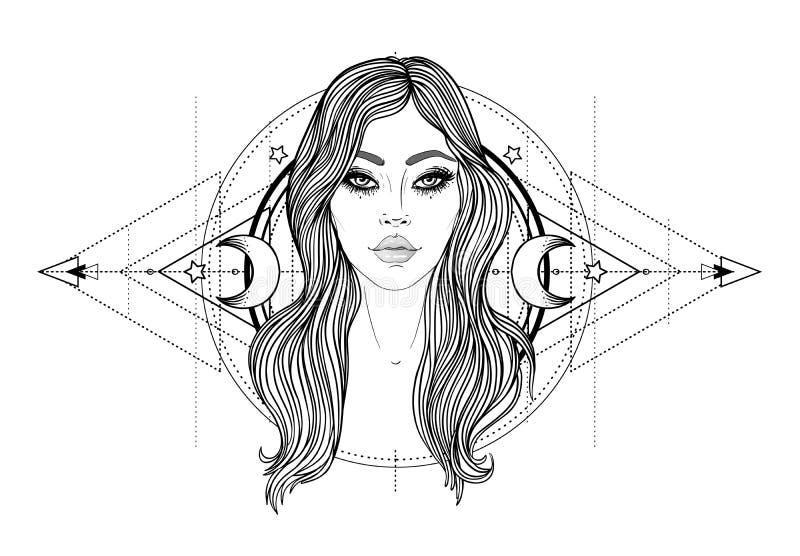 Θεία θεά Γραπτό κορίτσι πέρα από το ιερό σημάδι γεωμετρίας, απομονωμένη απεικόνιση Σκίτσο δερματοστιξιών Μυστικό σύμβολο διανυσματική απεικόνιση