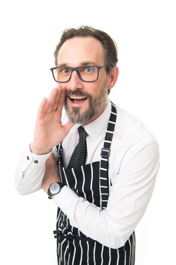 Θελήστε να ξέρετε τη μυστική συνταγή μου Μάγειρας ατόμων στο άσπρο υπόβαθρο ποδιών επαγγελματική εργασία ανθρώπων επαγγέλματος επ στοκ εικόνα με δικαίωμα ελεύθερης χρήσης