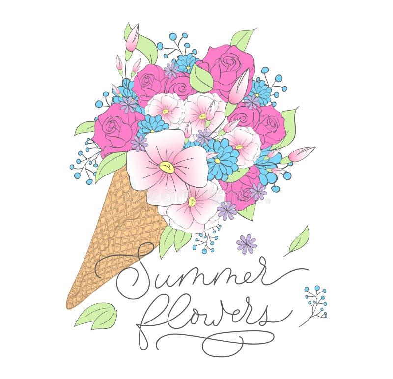 Θερινή τυπωμένη ύλη με το παγωτό, τα λουλούδια και την επιγραφή εγγραφής διανυσματική απεικόνιση