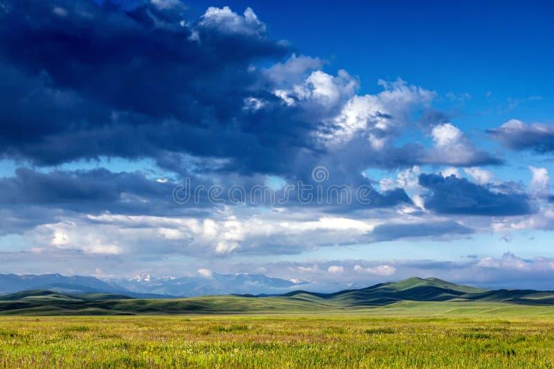 ΘΕΡΙΝΟ τοπίο Πράσινος τομέας, βουνά χιονιού, σύννεφα στοκ εικόνα
