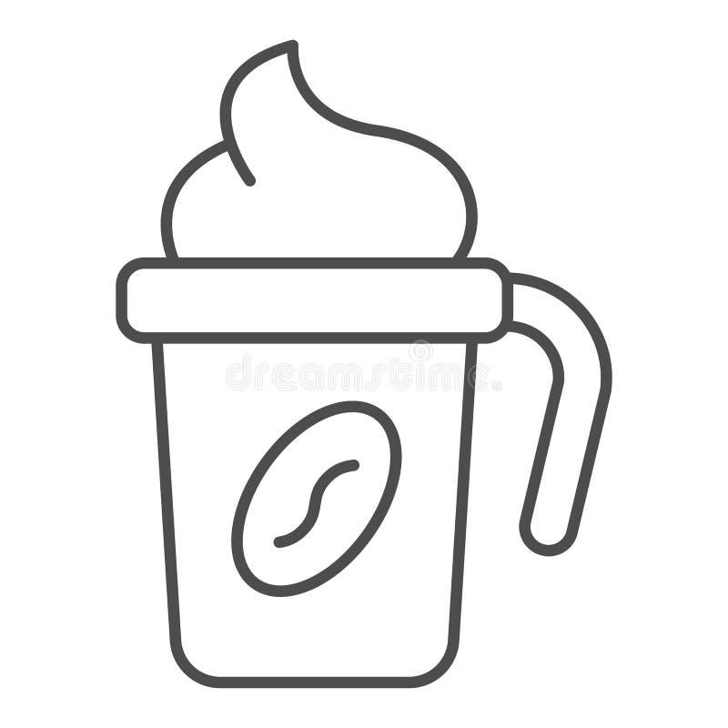 Θερμο καφέ εικονίδιο γραμμών φλυτζανιών λεπτό Ταξιδιού καφέ φλυτζανιών απεικόνιση που απομονώνεται διανυσματική στο λευκό Καφές μ διανυσματική απεικόνιση