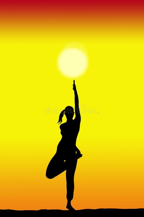 Θηλυκή σκιαγραφία γιόγκας με ένα ηλιοβασίλεμα στο διάστημα υποβάθρου και αντιγράφων για το κείμενό σας ελεύθερη απεικόνιση δικαιώματος