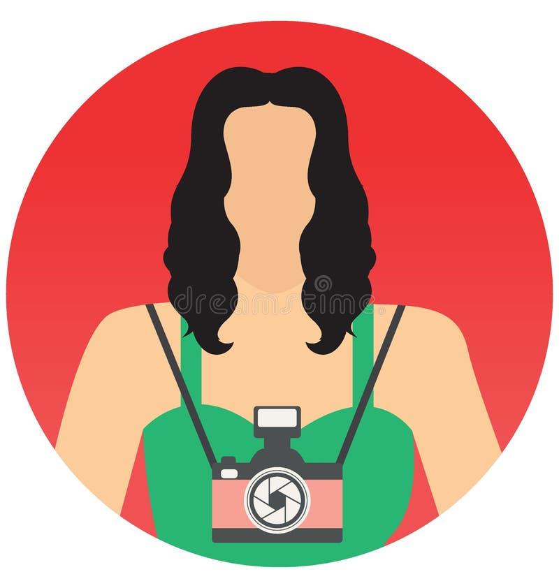 Θηλυκό εικονίδιο απεικόνισης φωτογράφων διανυσματικό που μπορεί εύκολα να τροποποιήσει ή να εκδώσει διανυσματική απεικόνιση