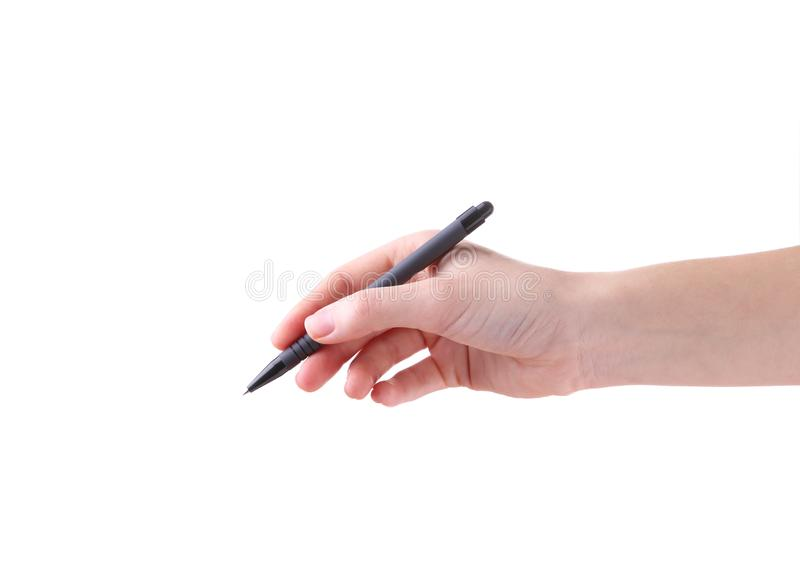 Θηλυκό χέρι με τη μάνδρα που απομονώνεται σε ένα άσπρο υπόβαθρο στοκ εικόνα