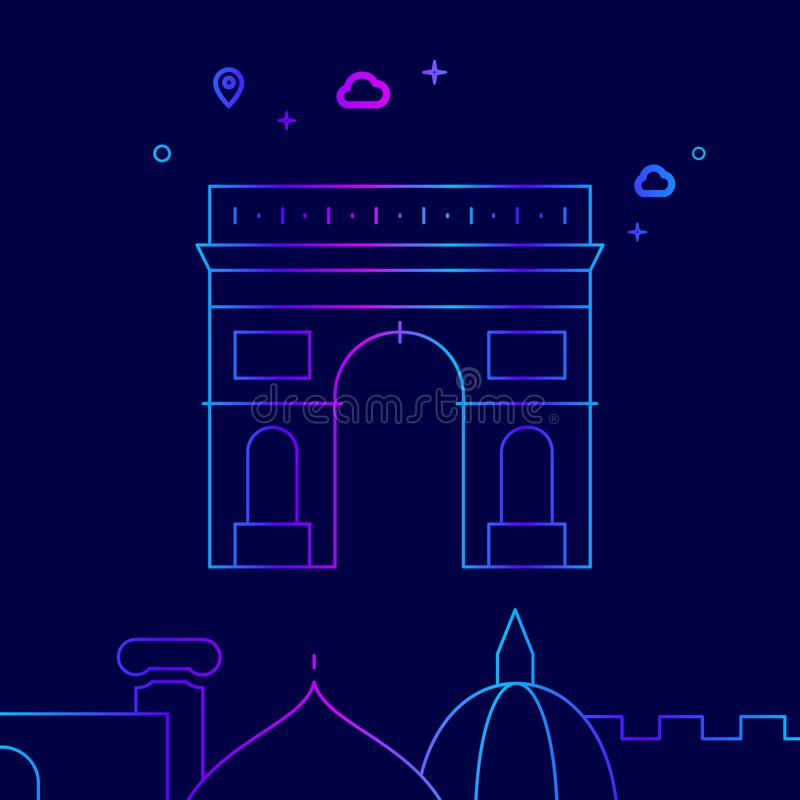 Θριαμβευτική αψίδα, διανυσματικό εικονίδιο γραμμών του Παρισιού, απεικόνιση σε ένα σκούρο μπλε υπόβαθρο Σχετικά κατώτατα σύνορα ελεύθερη απεικόνιση δικαιώματος