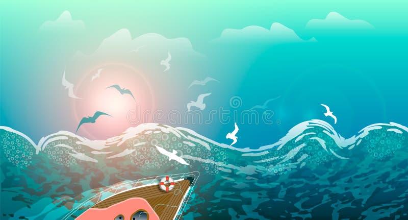 Θύελλα στη θάλασσα, τα κύματα και seagulls, γιοτ που πλέουν με τα κύματα στο ηλιοβασίλεμα, θερινό seascape απεικόνιση αποθεμάτων